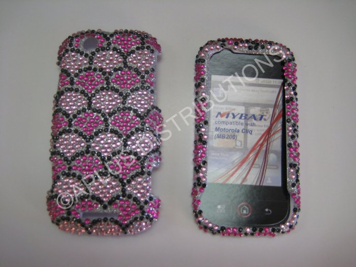 New Hot Pink Fish Scales Bling Diamond Case For Motorola Cliq MB200 - (0015)