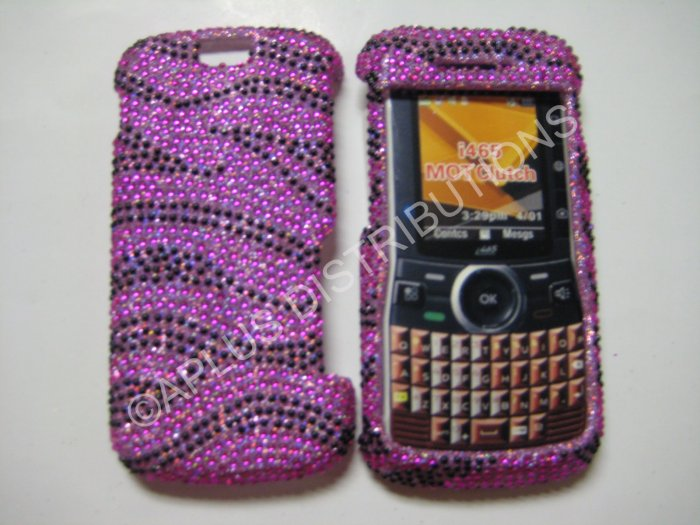 New Hot Pink Zebra Design Bling Diamond Case For Motorola Clutch I465 - (0003)