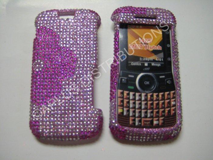New Hot Pink Half Flower Bling Diamond Case For Motorola Clutch I465 - (0002)