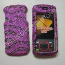 New Hot Pink Zebra Design Bling Diamond Case For Motorola Debut I856 - (0003)