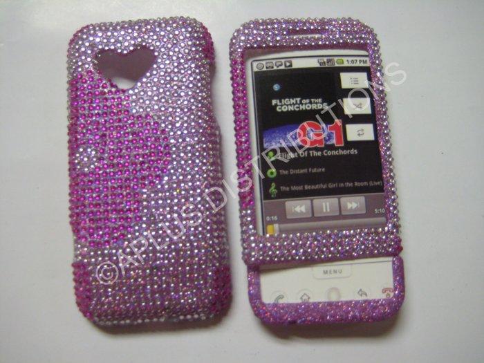 New Hot Pink Half Flower Bling Diamond Case For HTC G1 Dream - (0002)