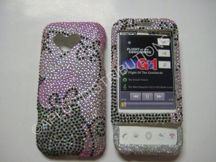 New Black Swirlz Design Bling Diamond Case For HTC G1 Dream - (0007)
