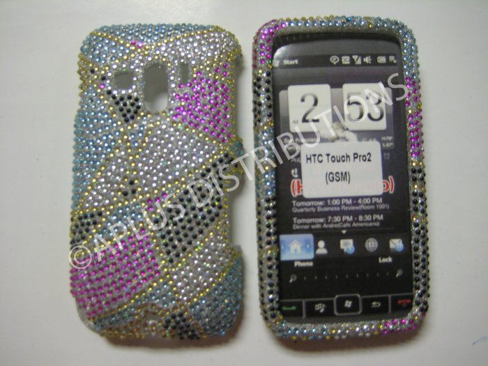 New Multi-Color Abstract Triangle Bling Diamond Case For HTC Touch Pro 2 (GSM) - (0008)