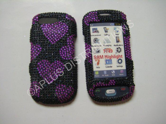 New Pink Heart Series Bling Diamond Case For Samsung Highlight T749 - (0001)