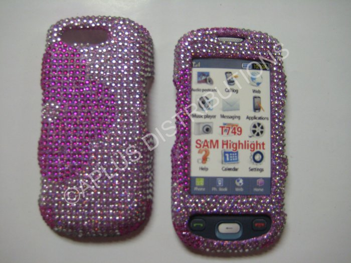 New Hot Pink Half Flower Bling Diamond Case For Samsung Highlight T749 - (0002)