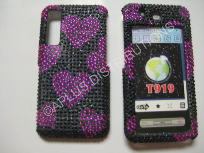 New Hot Pink Multi-Hearts Bling Diamond Case For Samsung Behold T919 - (0001)