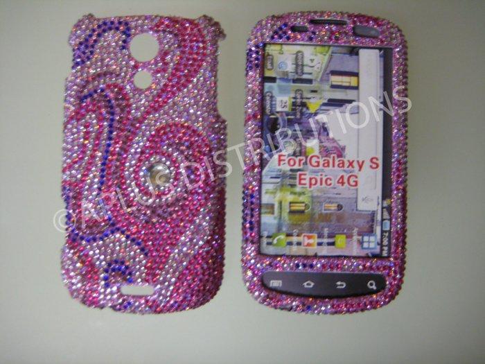 New Pink Swirl Design Bling Diamond Case For Samsung Epic 4G - (0020)