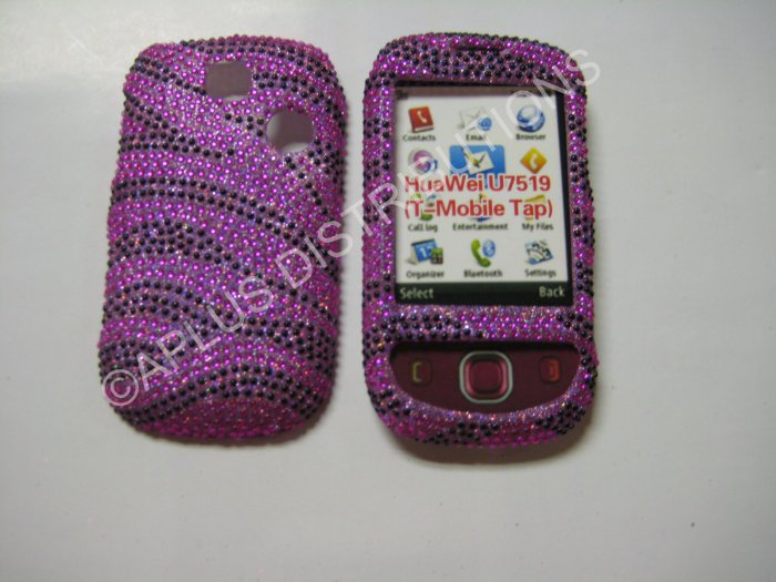 New Hot Pink Zebra Design Bling Diamond Case For T-Mobile Tap - (0003)