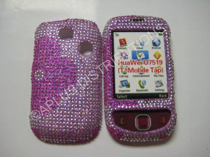 New Pink Half Flower Design Bling Diamond Case For T-Mobile Tap - (0002)