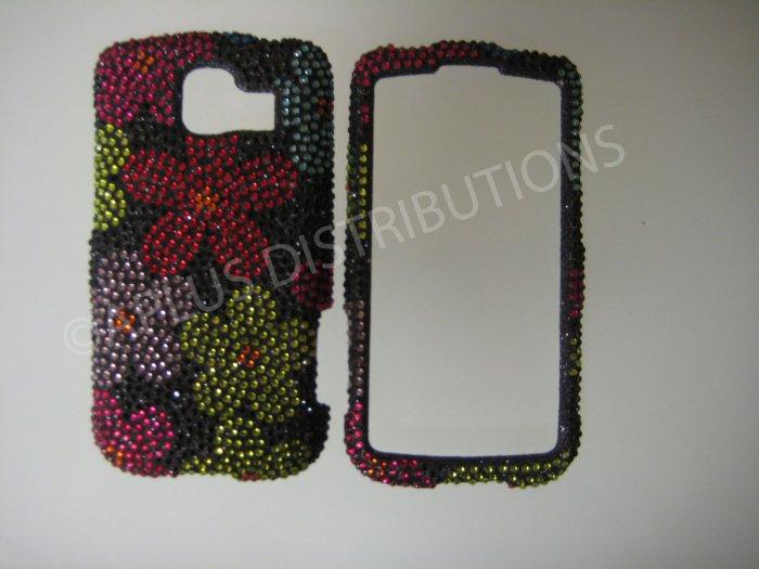 New Red 3D Flower Bling Diamond Case For LG Optimus S LS670 - (0019)
