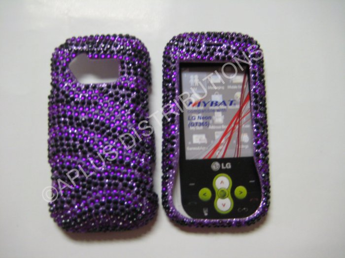 New Purple Zebra Design Bling Diamond Case For LG Neon Gt365 - (0005)