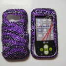 New Purple Zebra Design Bling Diamond Case For LG Neon Gt365 - (0005)