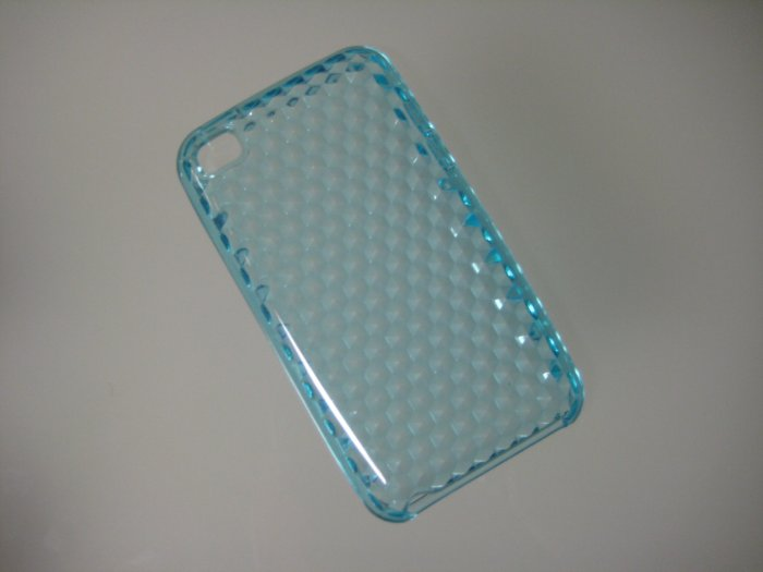 NEW FOR IPOD TOUCH 4TH GENERATION TRANSPARENT DIAMOND CUT PATTERN-LIGHT BLUE