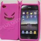 New Hot Pink Devil Design Silicone Cover For iPhone 4 - (0021)