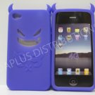 New Purple Devil Design Silicone Cover For iPhone 4 - (0018)