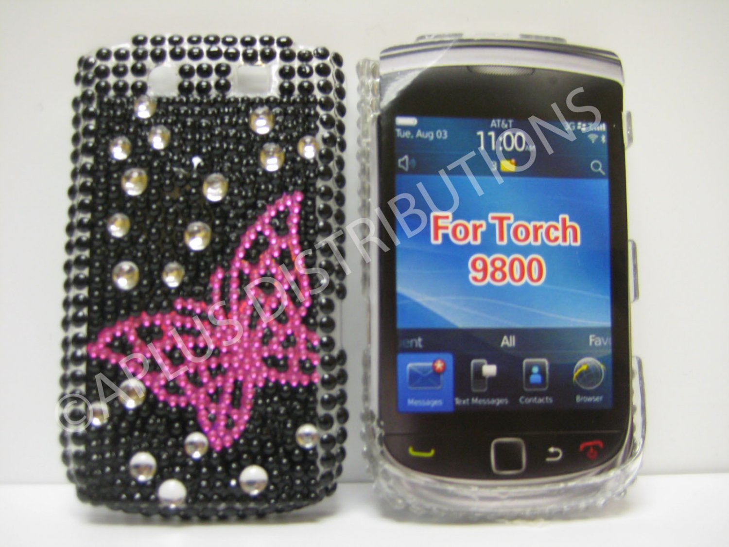 New Pink Open Butterfly w/Diamonds Design Crystal Bling Diamond Case For Blackberry 9800 - (0096)