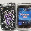 New Purple Butterfly Sideview Design Crystal Bling Diamond Case For Blackberry 9800 - (0138)