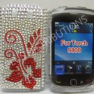 New Red Hawaiian Hibiscus Bling Diamond Case For Blackberry 9800 - (0144)