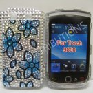 New Blue Cherry Blossom Series Bling Diamond Case For Blackberry 9800 - (0145)