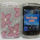 New Pink Cherry Blossom Bling Diamond Case For Blackberry 9800 - (0142)