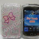 New Pink Heart Series w/Bow Bling Diamond Case For Blackberry 9800 - (0143)