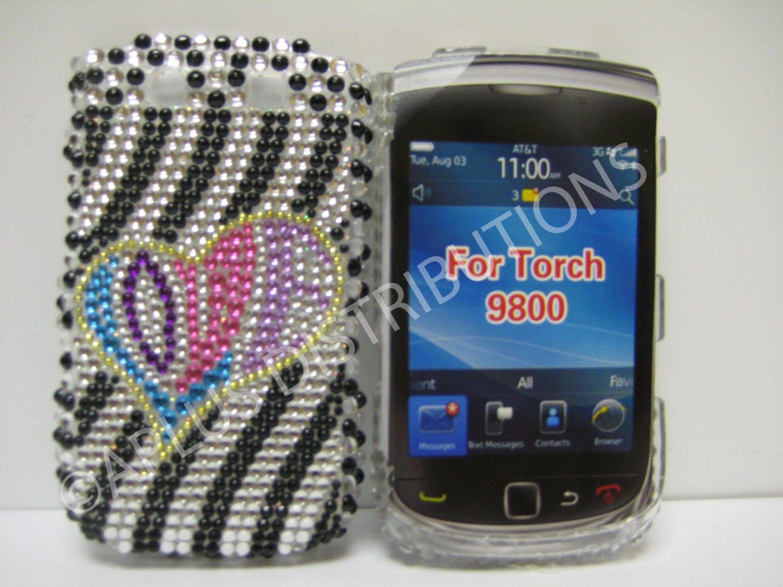 New Black Love Heart Bling Diamond Case For Blackberry 9800 - (0156)