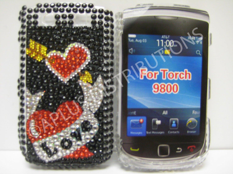 New Red Heart Series Bow N Arrow Bling Diamond Case For Blackberry 9800 - (0148)