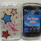 New Blue Star Comet Bling Diamond Case For Blackberry 9800 - (0137)