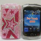 New Pink Multi-Stars Bling Diamond Case For Blackberry 9800 - (0136)