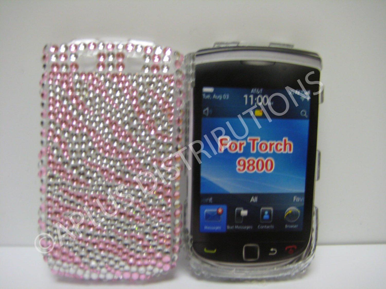New Pink Zebra Design Bling Diamond Case For Blackberry 9800 - (0132)