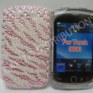 New Pink Zebra Design (Pearl) Bling Diamond Case For Blackberry 9800 - (0131)