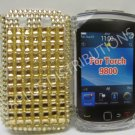 New Gold Retro Series (Checkered Pattern) Bling Diamond Case For Blackberry 9800 - (0141)