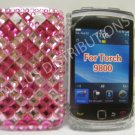 New Hot Pink Retro Series (Diamond Pattern) Bling Diamond Case For Blackberry 9800 - (0140)