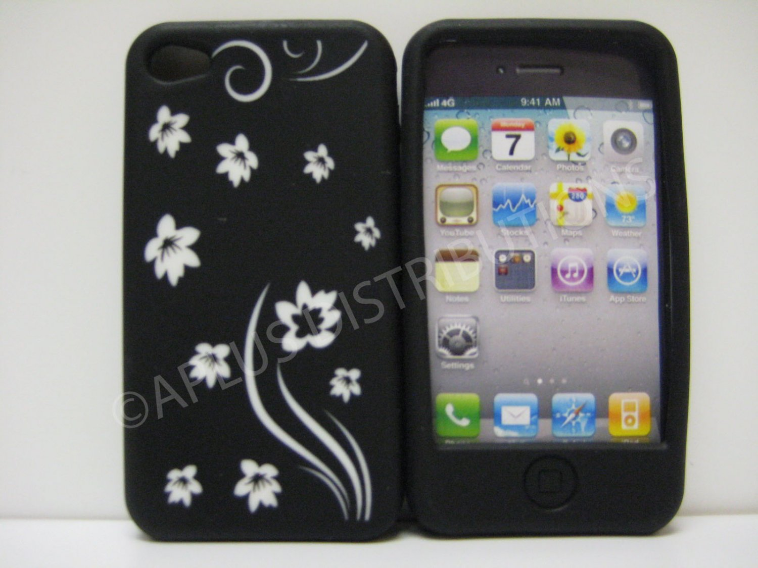New Black Laser Cut Flowers Design Silicone Cover For iPhone 4 - (0109)