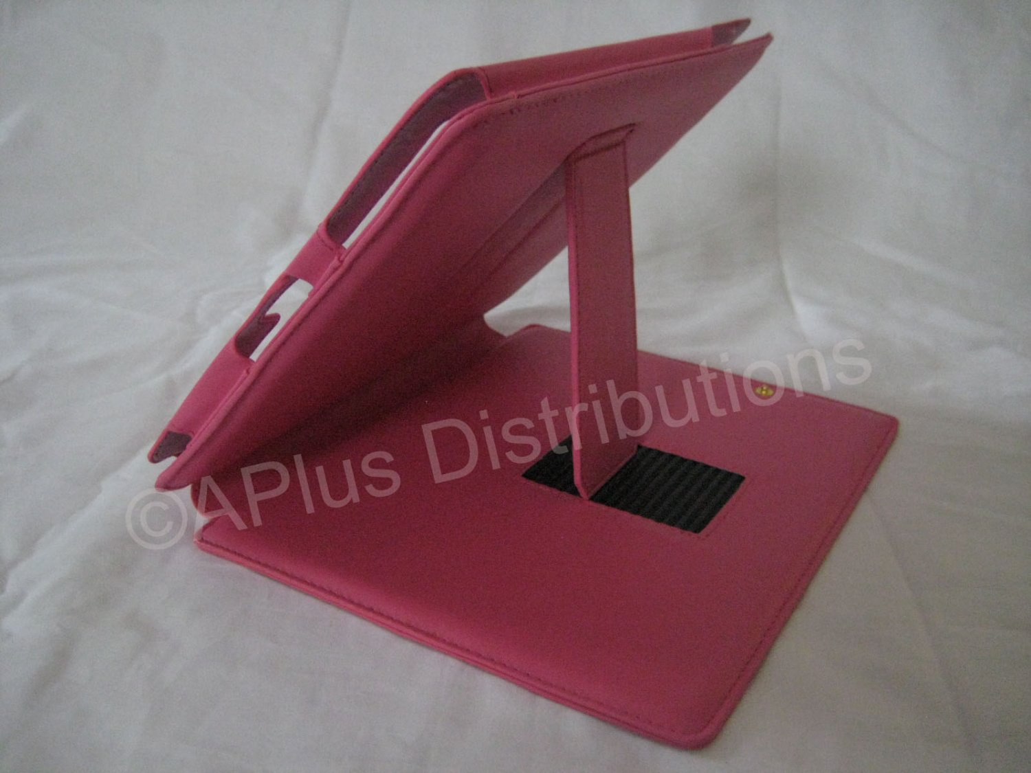 New Leather Case with Kickstand & Pocket for Apple iPad - HOT PINK