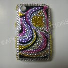New Gold & Black Abstract Apple Design Crystal Bling Case For Blackberry 8520 - (0012)