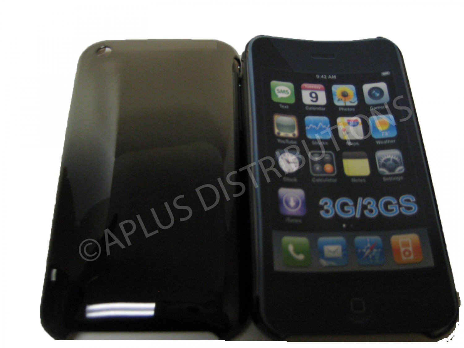 New Black Metallic Reflection Design Hard Protective Cover For iPhone 3G 3GS - (0093)