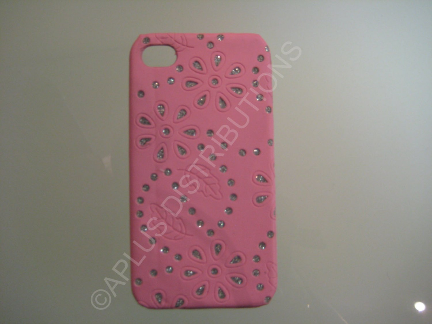 New Pink Flower Vine Glitter Pattern Hard Protective Cover For iPhone 4 - (0045)