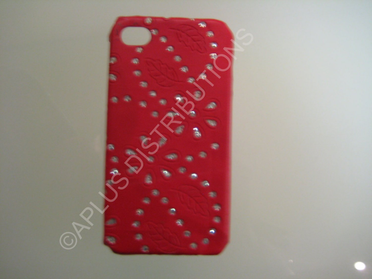 New Red Flower Vine Glitter Pattern Hard Protective Cover For iPhone 4 - (0047)