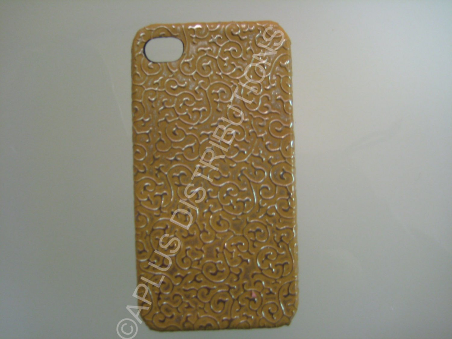 New Gold Ornate Vines Design Hard Protective Cover For iPhone 4 - (0087)