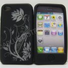 New Black Laser Cut Ivy Design Silicone Cover For iPhone 4 - (0106)