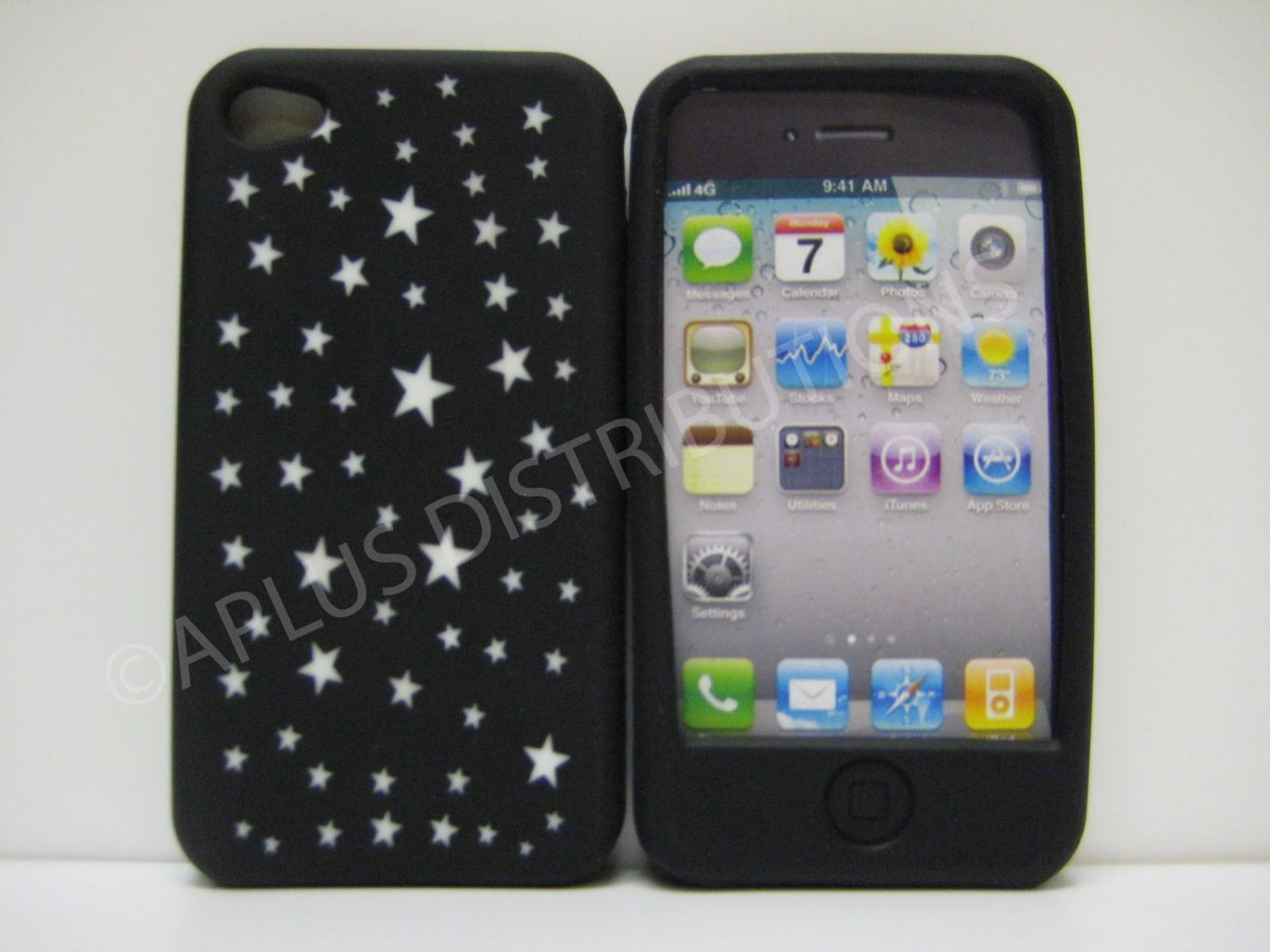 New Black Laser Cut Stars Design Silicone Cover For iPhone 4 - (0110)