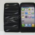 New Black Laser Cut Strips Design Silicone Cover For iPhone 4 - (0108)