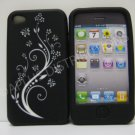 New Black Laser Cut Ivy Vines Design Silicone Cover For iPhone 4 - (0196)