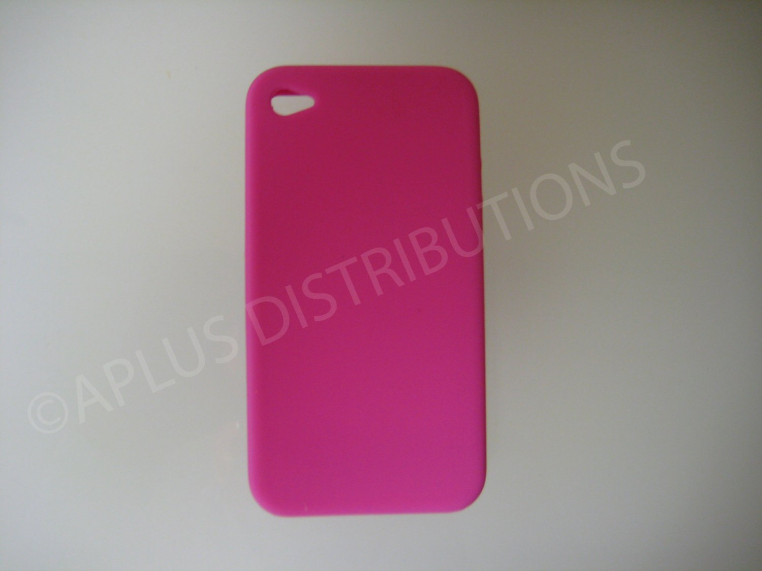 New Hot Pink Solid Color No Dot Design Silicone Cover For iPhone 4 - (0158)