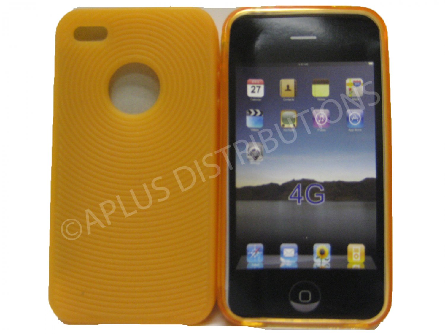 New Orange Thumb Print Pattern Silicone Cover For iPhone 4 - (0002)