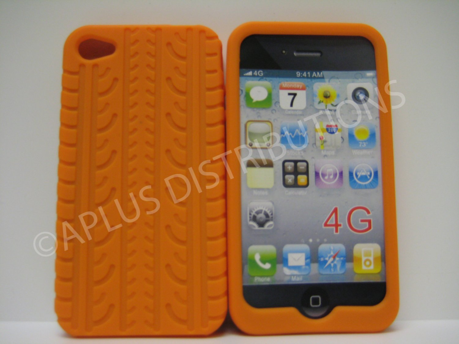 New Orange Tire Print Pattern Silicone Cover For iPhone 4 - (0128)