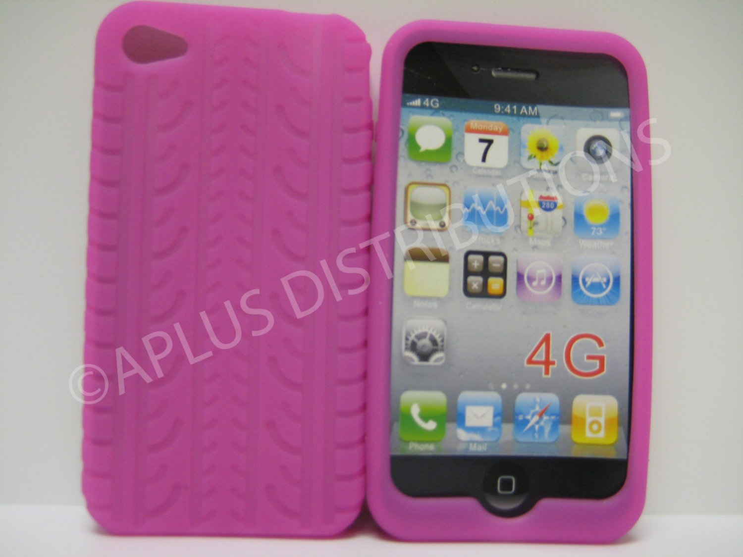 New Light Purple Tire Print Pattern Silicone Cover For iPhone 4 - (0189)