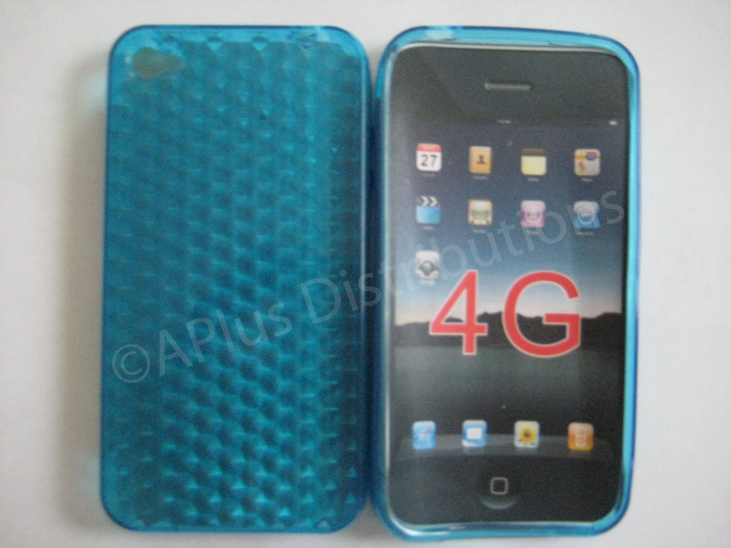 New Blue Diamond Cut Pattern TPU Cover For iPhone 4 - (0015)