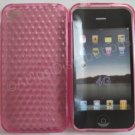New Pink Diamond Cut Pattern TPU Cover For iPhone 4 - (0100)
